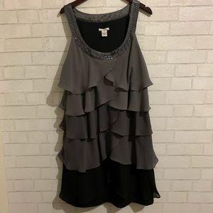Amanda Lane Ruffle Dress Embellished Neckline 20